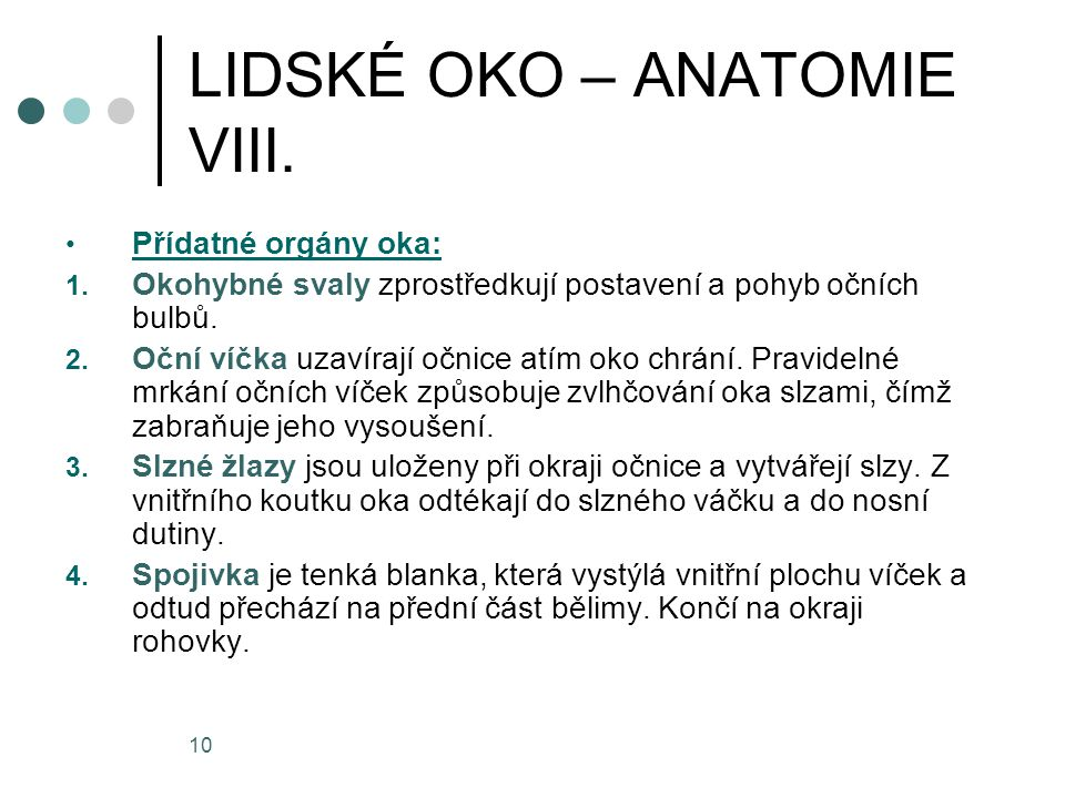 LIDSKÉ OKO – ANATOMIE VIII.