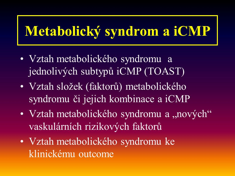 Metabolický syndrom a iCMP