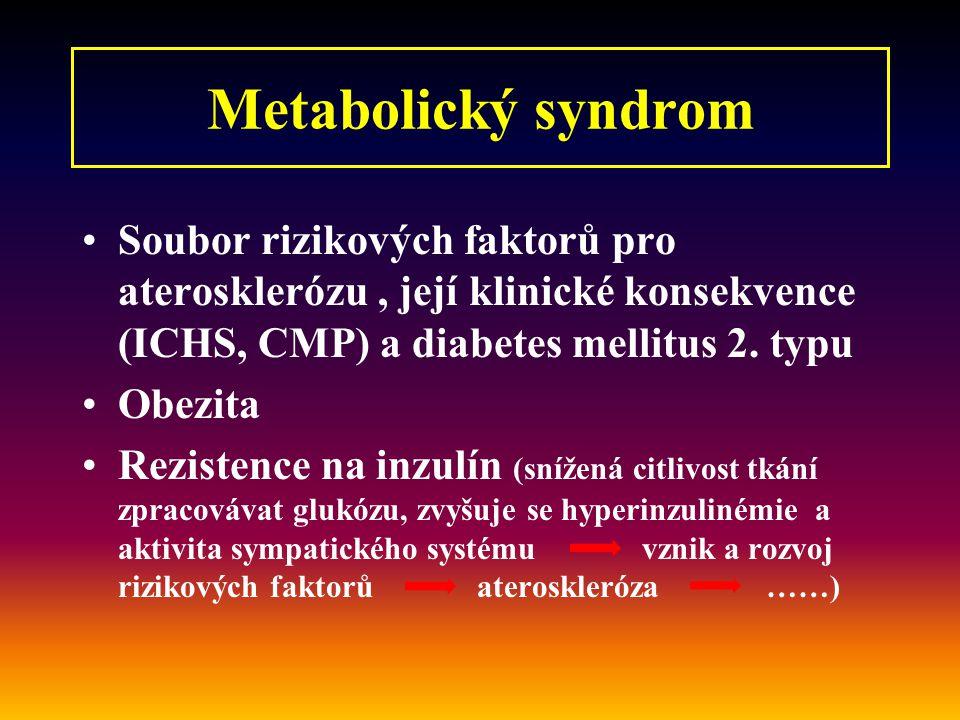 Metabolický syndrom Soubor rizikových faktorů pro aterosklerózu , její klinické konsekvence (ICHS, CMP) a diabetes mellitus 2. typu.