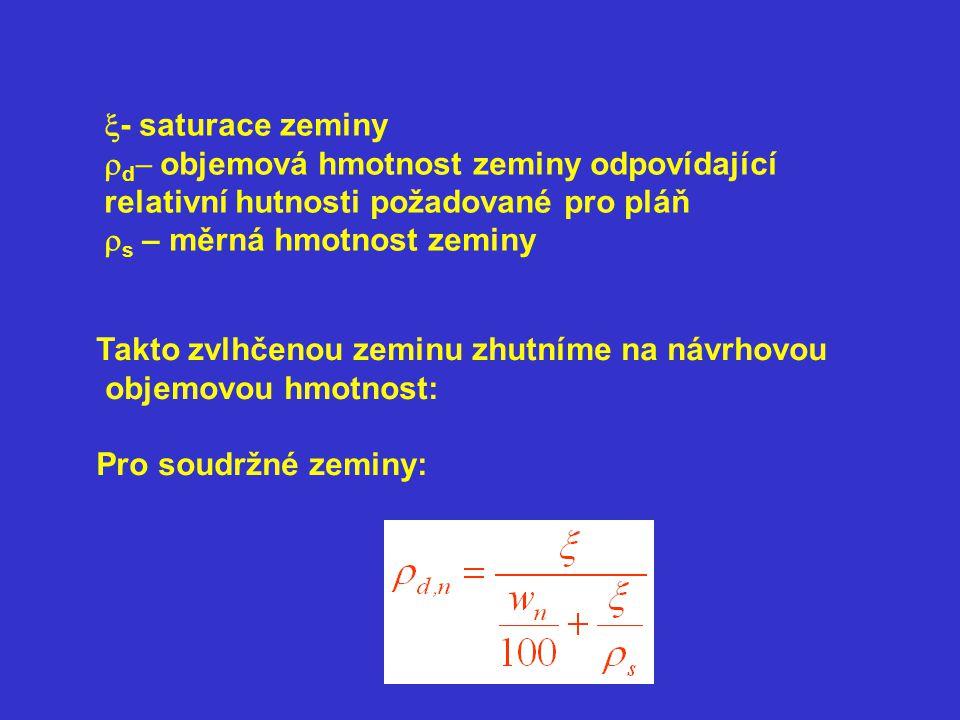 x- saturace zeminy rd- objemová hmotnost zeminy odpovídající relativní hutnosti požadované pro pláň.