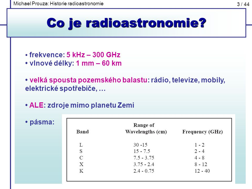 Co je radioastronomie • frekvence: 5 kHz – 300 GHz