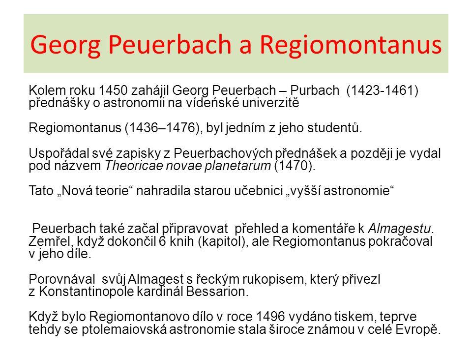 Georg Peuerbach a Regiomontanus
