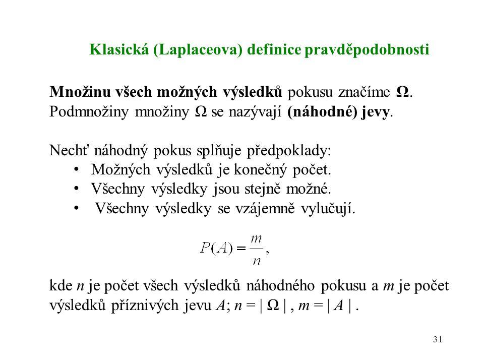 Klasická (Laplaceova) definice pravděpodobnosti