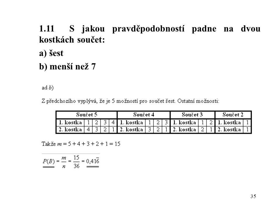 1.11 S jakou pravděpodobností padne na dvou kostkách součet: