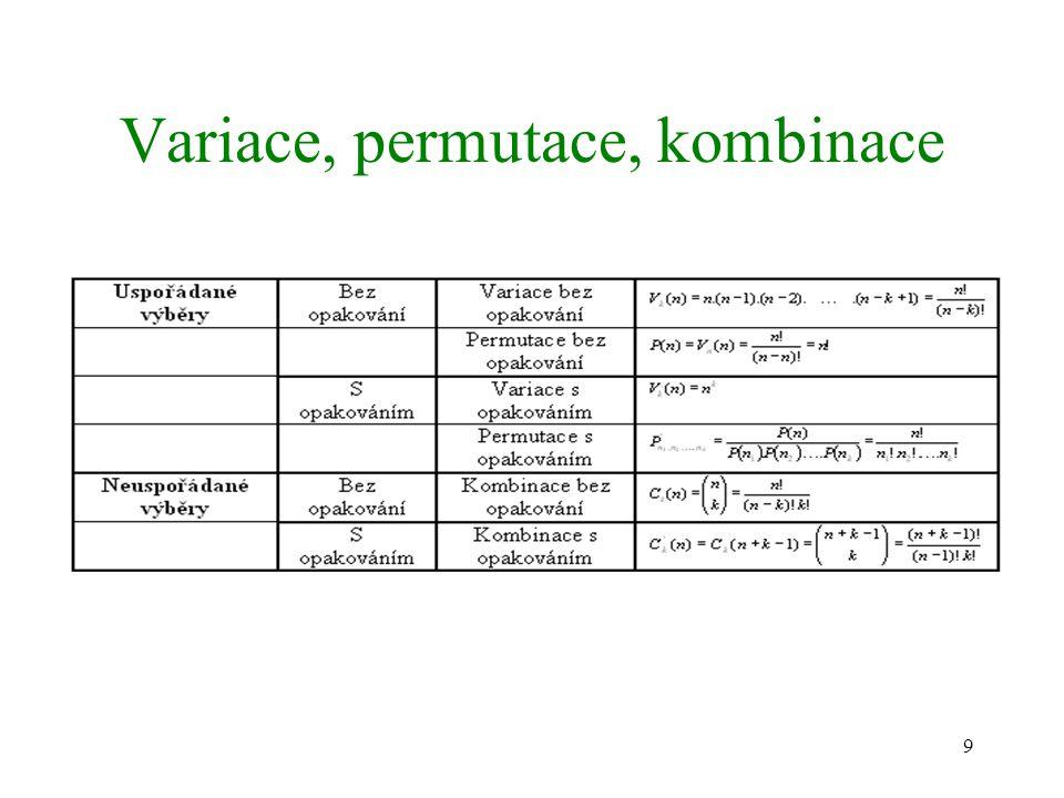 Variace, permutace, kombinace
