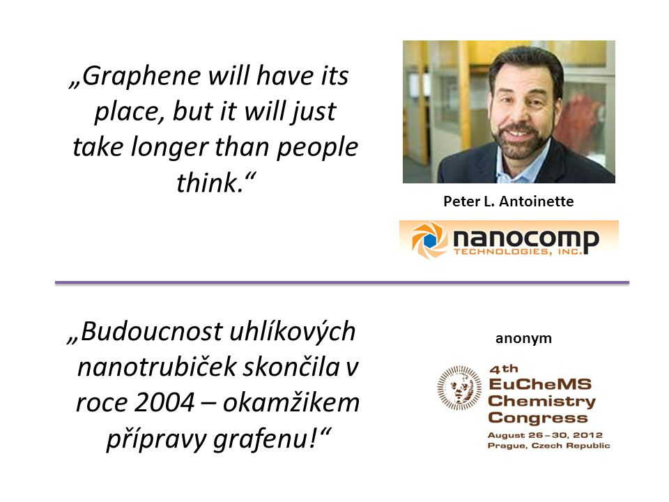 """""""Graphene will have its place, but it will just take longer than people think."""