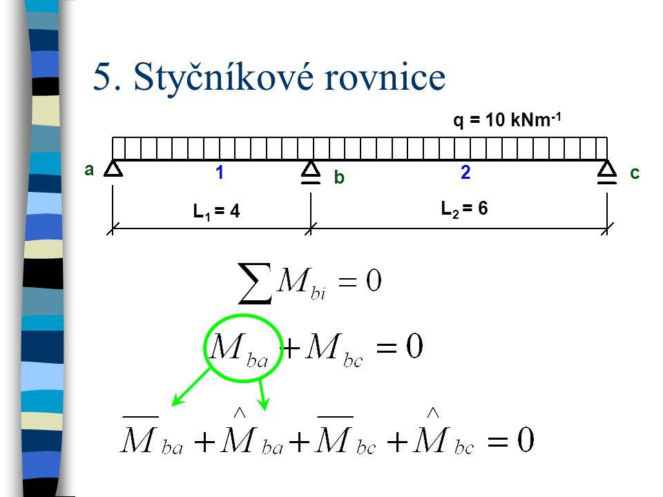 5. Styčníkové rovnice q = 10 kNm-1 a b c L1 = 4 L2 = 6 1 2