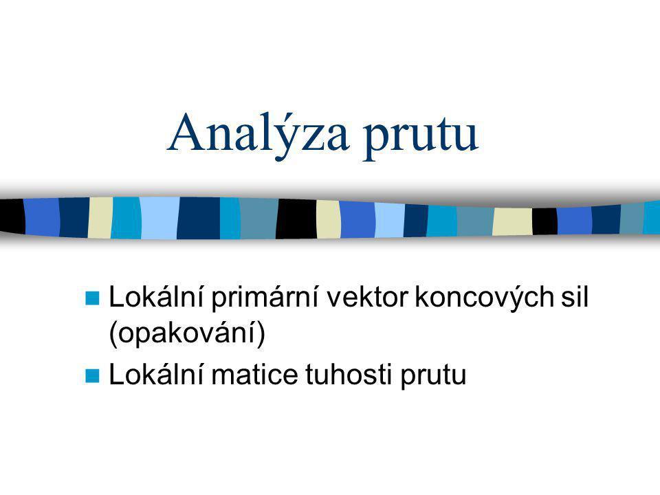 Analýza prutu Lokální primární vektor koncových sil (opakování)