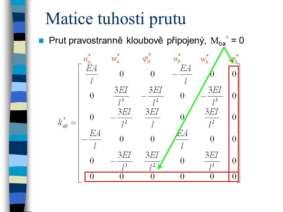 Matice tuhosti prutu Prut pravostranně kloubově připojený, Mba* = 0