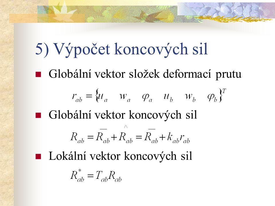 5) Výpočet koncových sil