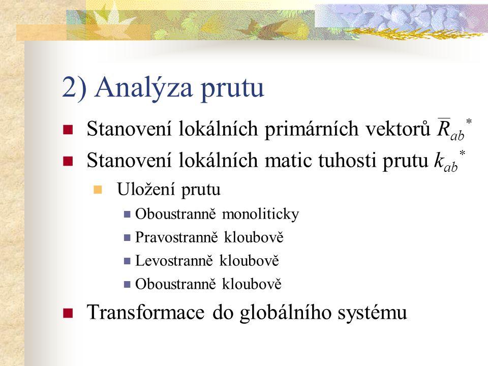 2) Analýza prutu Stanovení lokálních primárních vektorů Rab*