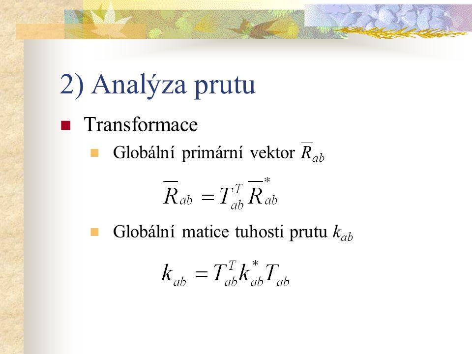2) Analýza prutu Transformace Globální primární vektor Rab