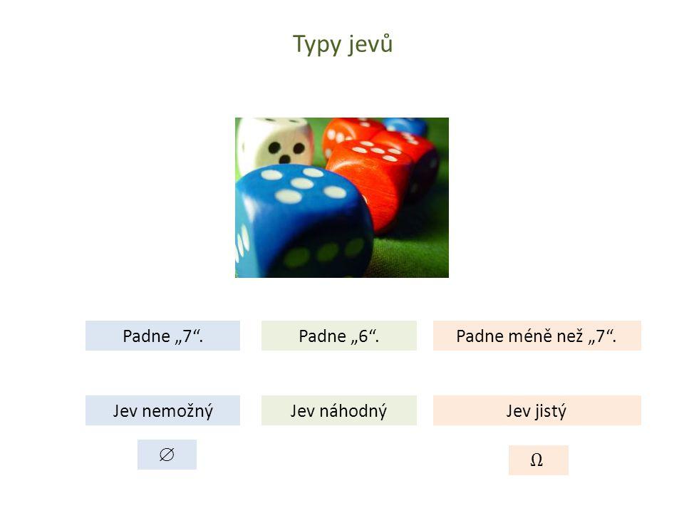 """Typy jevů Padne """"7 . Padne """"6 . Padne méně než """"7 . Jev nemožný"""