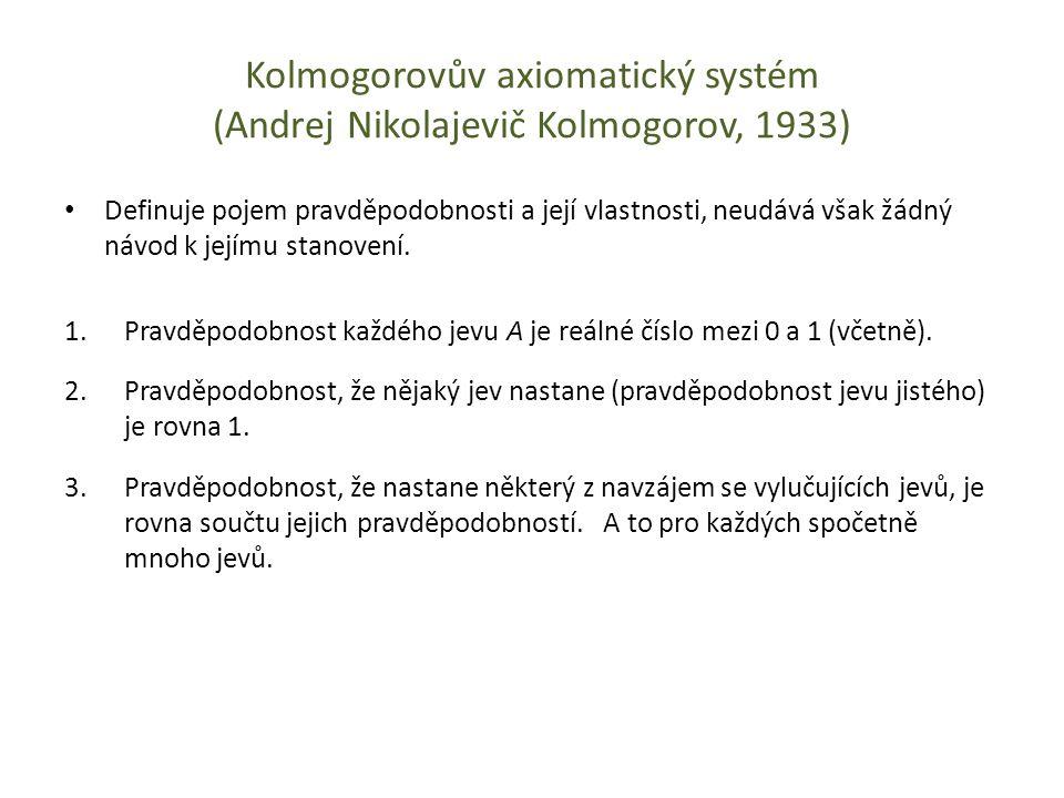 Kolmogorovův axiomatický systém (Andrej Nikolajevič Kolmogorov, 1933)