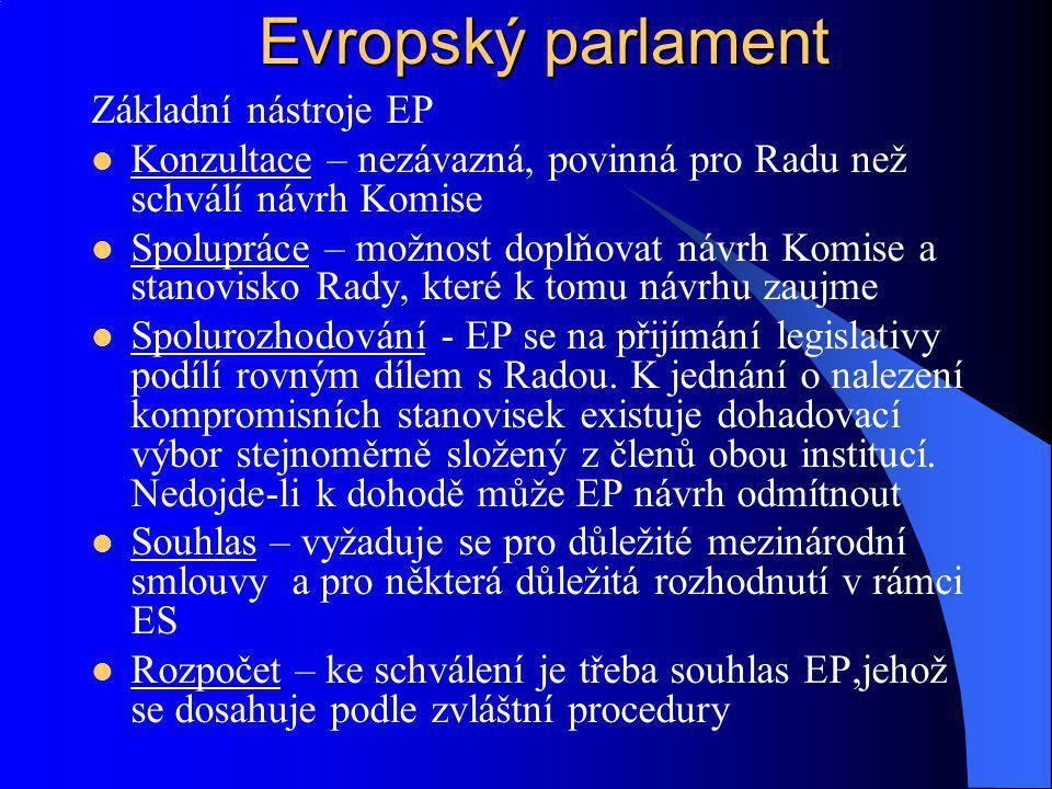 Evropský parlament Základní nástroje EP