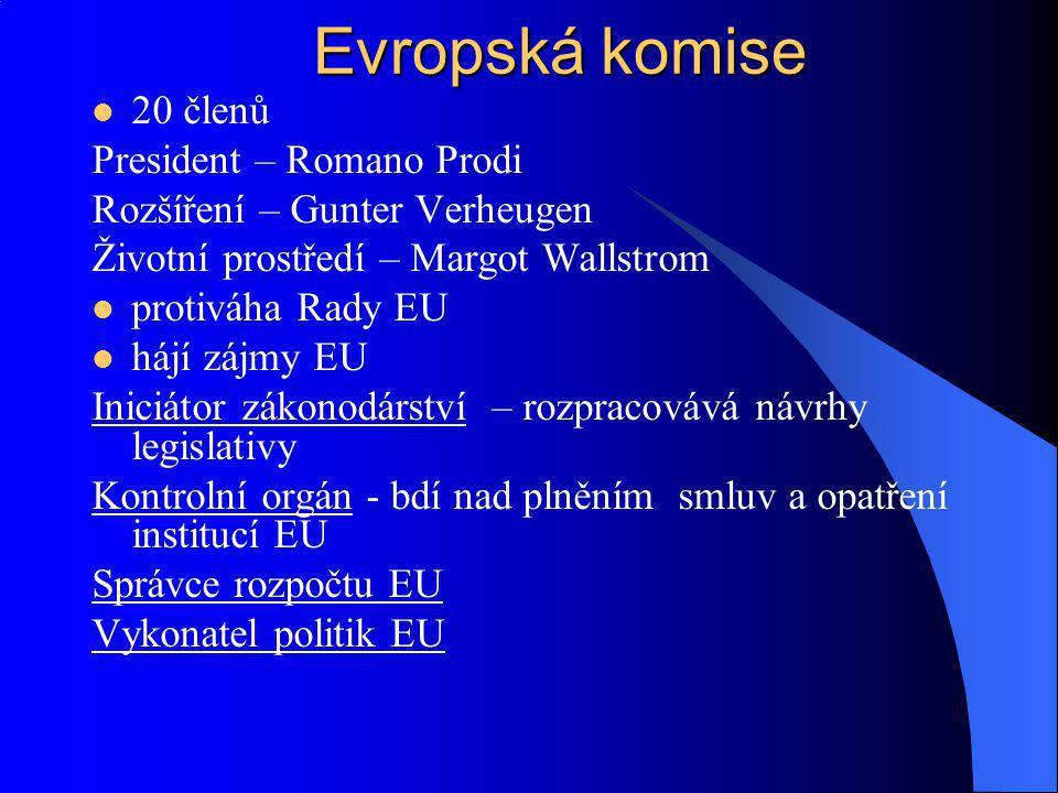 Evropská komise 20 členů President – Romano Prodi
