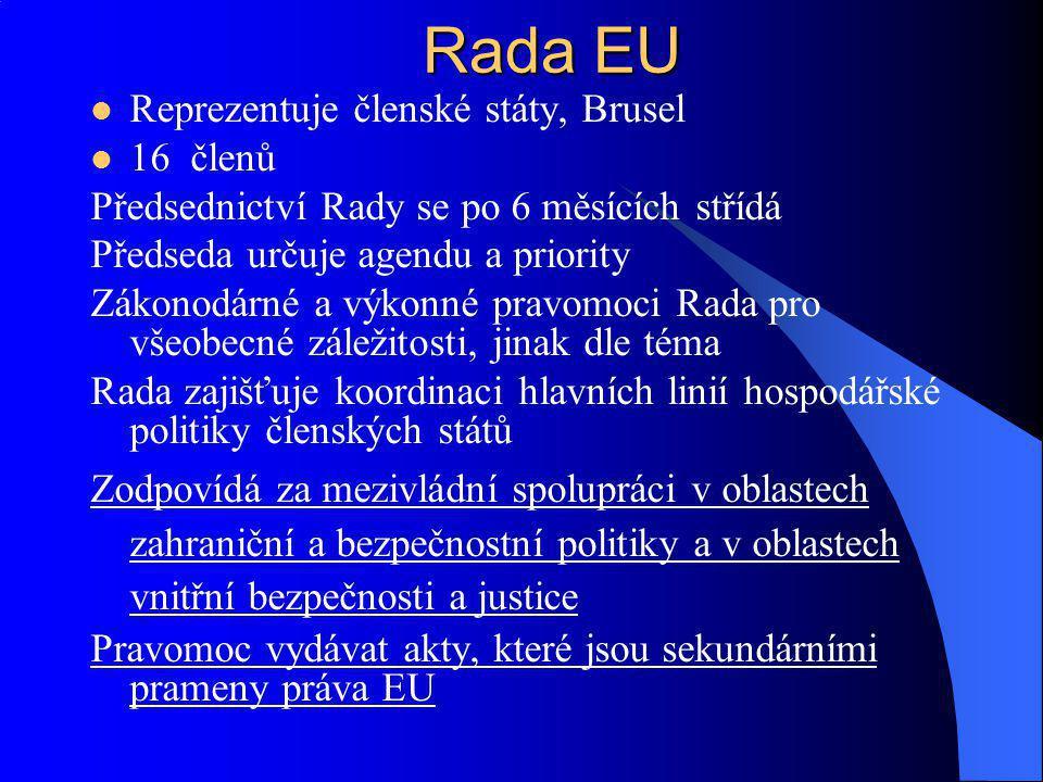 Rada EU Reprezentuje členské státy, Brusel 16 členů