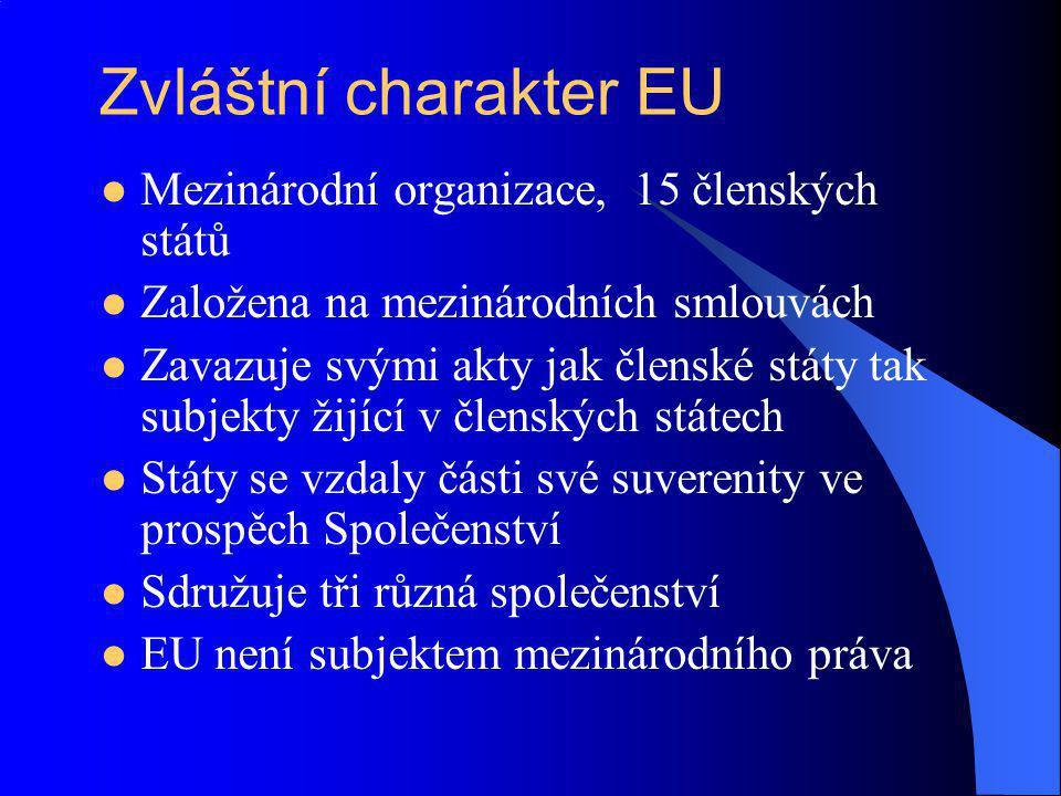 Zvláštní charakter EU Mezinárodní organizace, 15 členských států