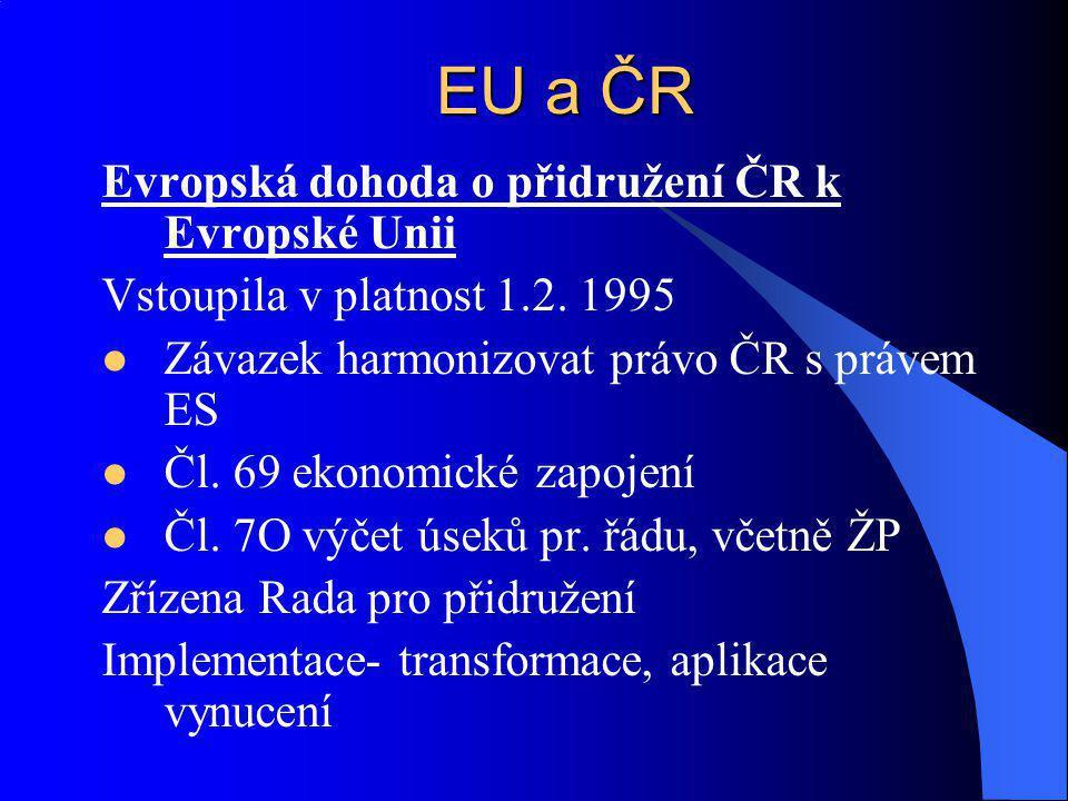 EU a ČR Evropská dohoda o přidružení ČR k Evropské Unii