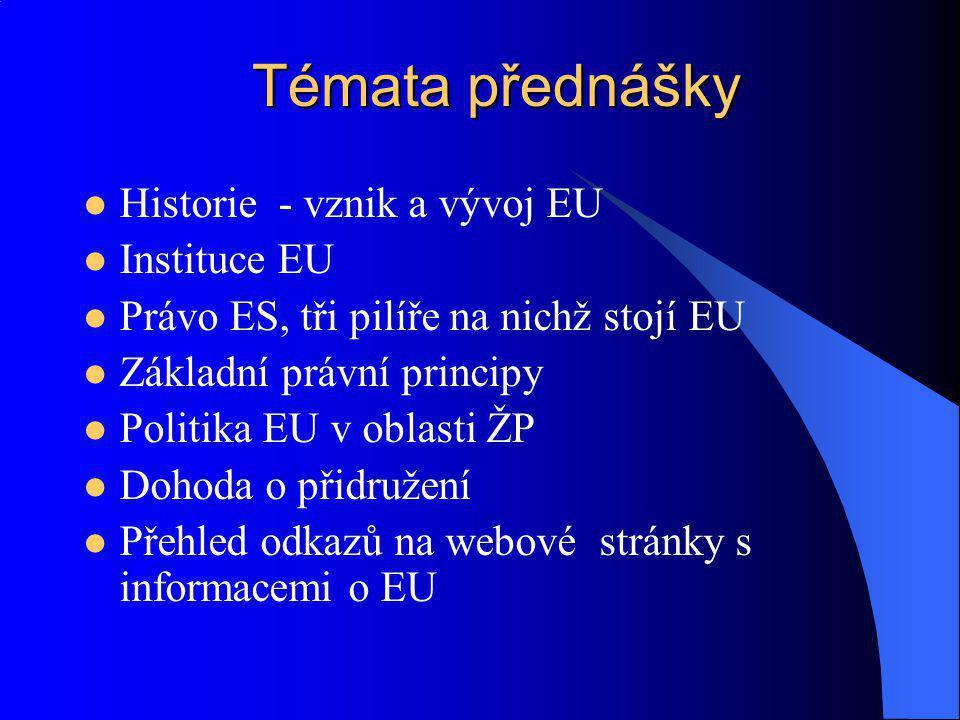 Témata přednášky Historie - vznik a vývoj EU Instituce EU