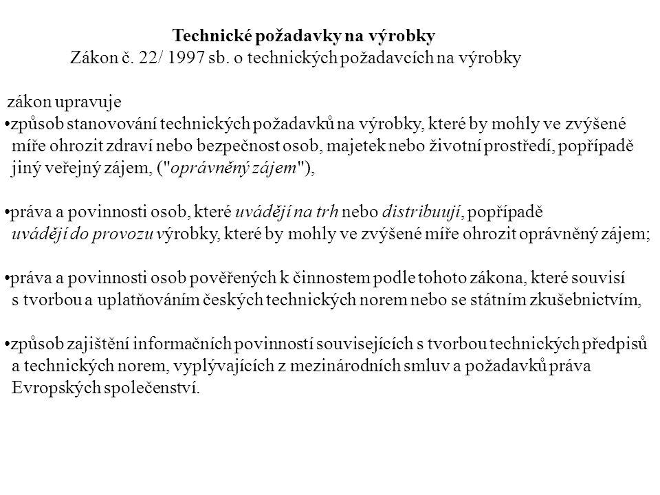 Zákon č. 22/ 1997 sb. o technických požadavcích na výrobky