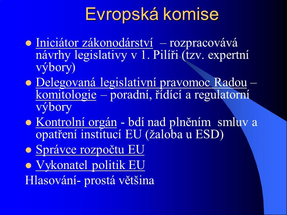 Evropská komise Iniciátor zákonodárství – rozpracovává návrhy legislativy v 1. Pilíři (tzv. expertní výbory)