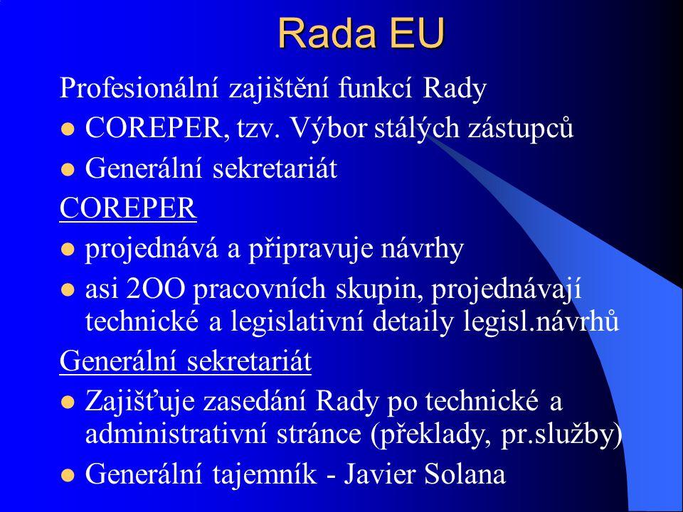 Rada EU Profesionální zajištění funkcí Rady