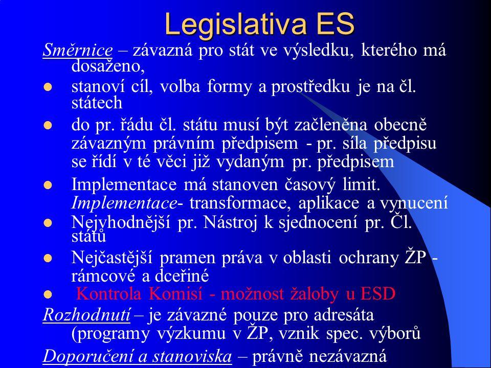 Legislativa ES Směrnice – závazná pro stát ve výsledku, kterého má dosaženo, stanoví cíl, volba formy a prostředku je na čl. státech.