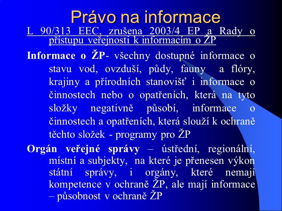 Právo na informace L 90/313 EEC, zrušena 2003/4 EP a Rady o přístupu veřejnosti k informacím o ŽP.