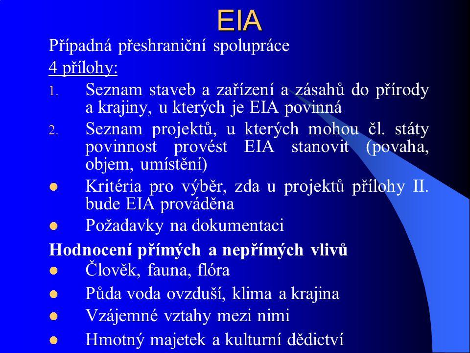 EIA Případná přeshraniční spolupráce 4 přílohy: