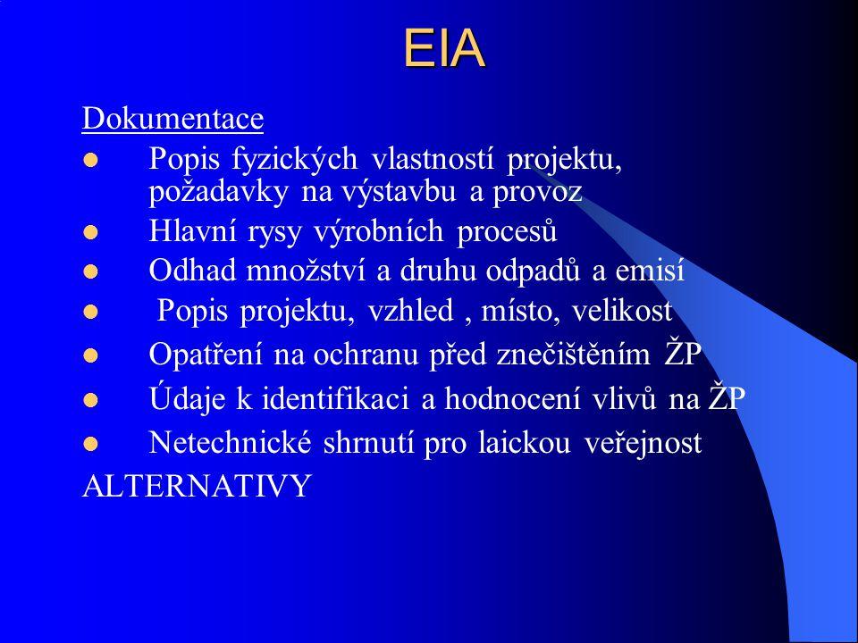 EIA Dokumentace. Popis fyzických vlastností projektu, požadavky na výstavbu a provoz. Hlavní rysy výrobních procesů.