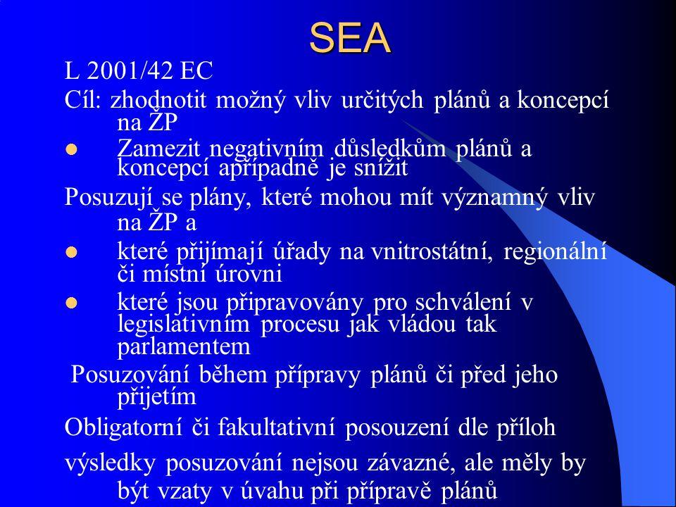 SEA L 2001/42 EC. Cíl: zhodnotit možný vliv určitých plánů a koncepcí na ŽP. Zamezit negativním důsledkům plánů a koncepcí apřípadně je snížit.