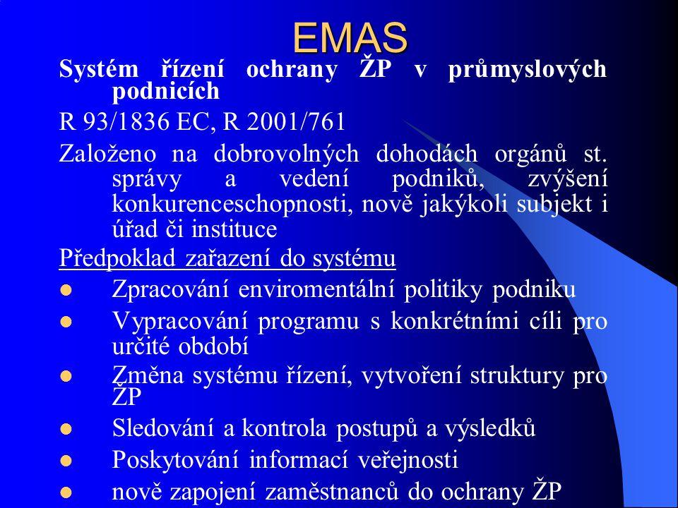 EMAS Systém řízení ochrany ŽP v průmyslových podnicích