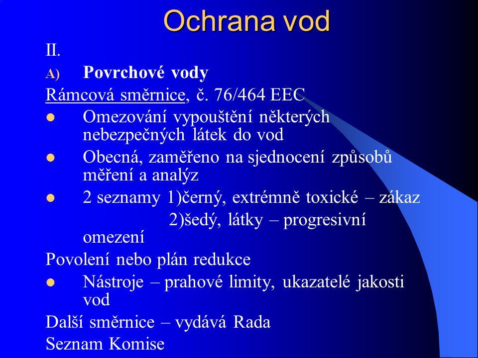 Ochrana vod II. Povrchové vody Rámcová směrnice, č. 76/464 EEC