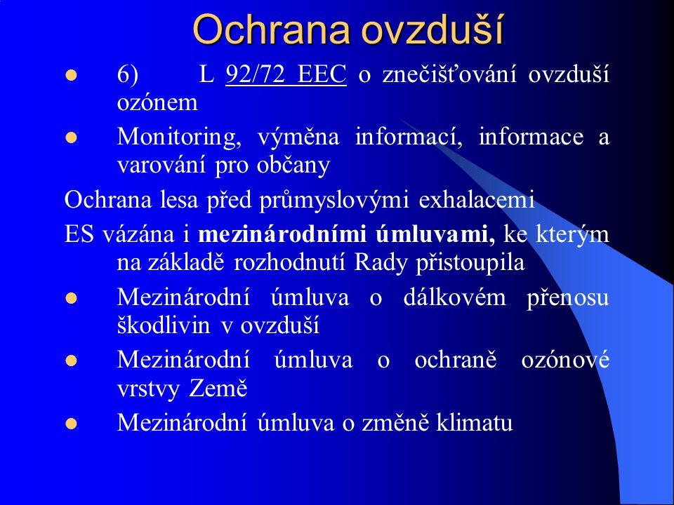 Ochrana ovzduší 6) L 92/72 EEC o znečišťování ovzduší ozónem