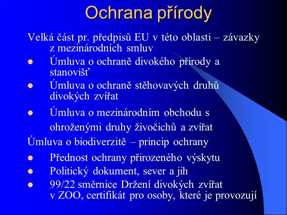 Ochrana přírody Velká část pr. předpisů EU v této oblasti – závazky z mezinárodních smluv. Úmluva o ochraně divokého přírody a stanovišť.