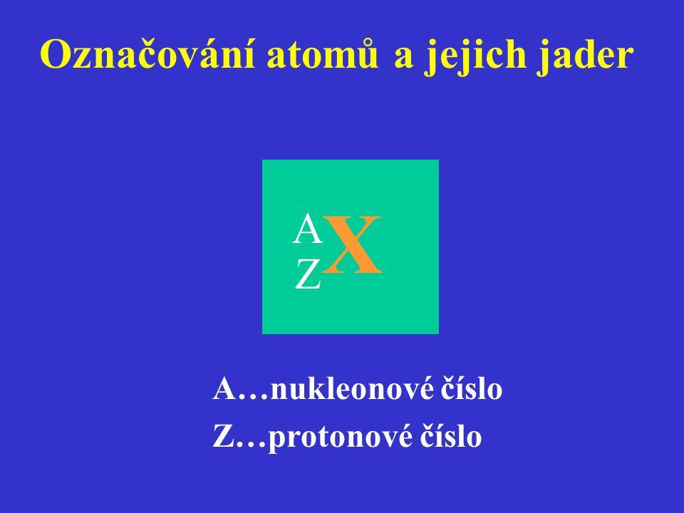 A Označování atomů a jejich jader A…nukleonové číslo Z…protonové číslo