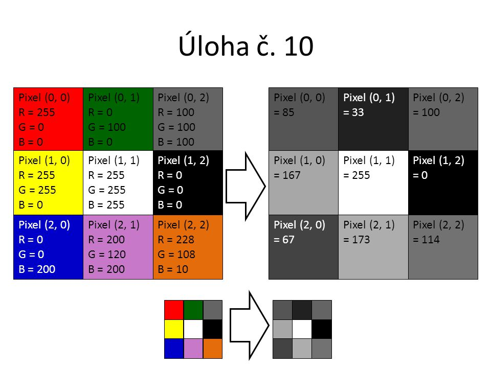 Úloha č. 10 Pixel (0, 0) R = 255 G = 0 B = 0 Pixel (0, 1) R = 0