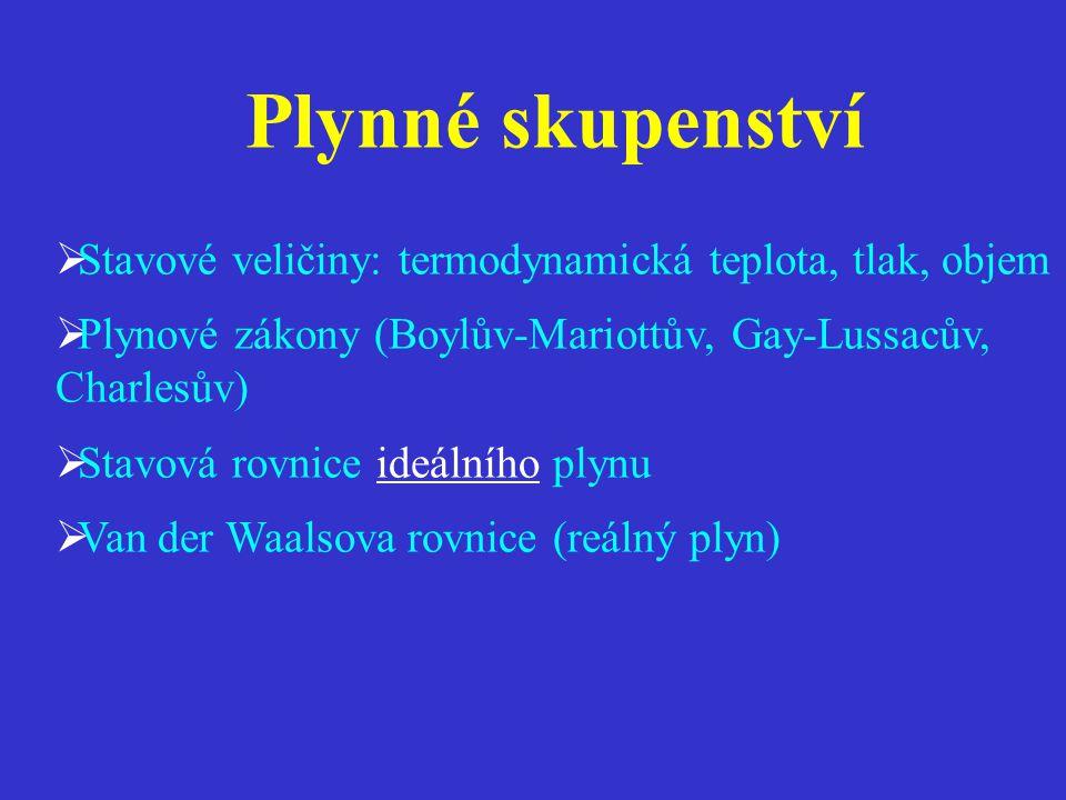 Plynné skupenství Stavové veličiny: termodynamická teplota, tlak, objem. Plynové zákony (Boylův-Mariottův, Gay-Lussacův, Charlesův)