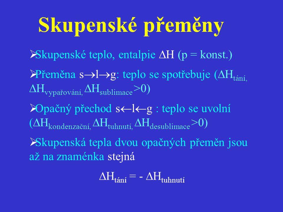Skupenské přeměny Skupenské teplo, entalpie H (p = konst.)