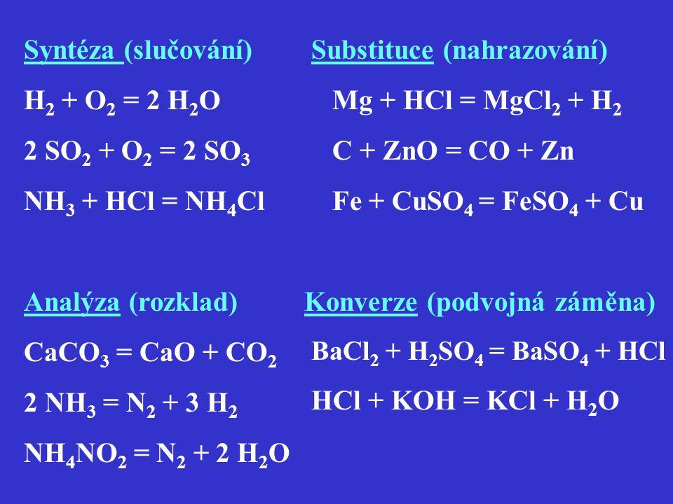Substituce (nahrazování) Mg + HCl = MgCl2 + H2 C + ZnO = CO + Zn