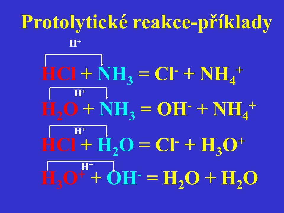 Protolytické reakce-příklady