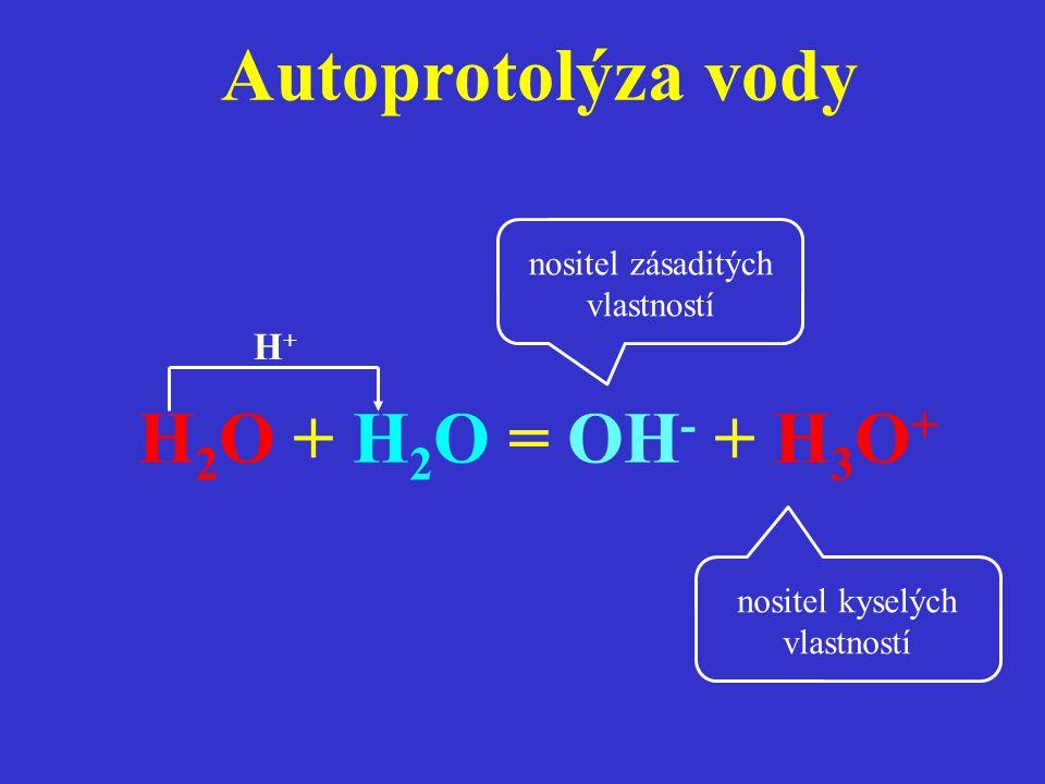 Autoprotolýza vody H2O + H2O = OH- + H3O+ H+
