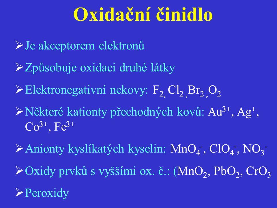 Oxidační činidlo Je akceptorem elektronů Způsobuje oxidaci druhé látky
