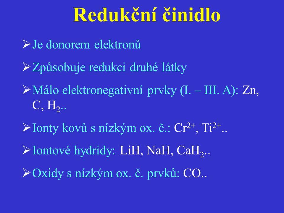 Redukční činidlo Je donorem elektronů Způsobuje redukci druhé látky