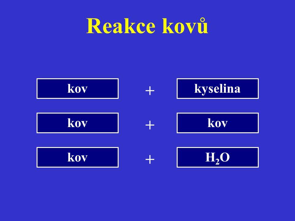 Reakce kovů kov kyselina + kov + kov H2O +