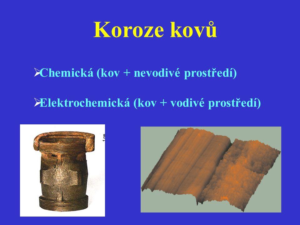 Koroze kovů Chemická (kov + nevodivé prostředí)