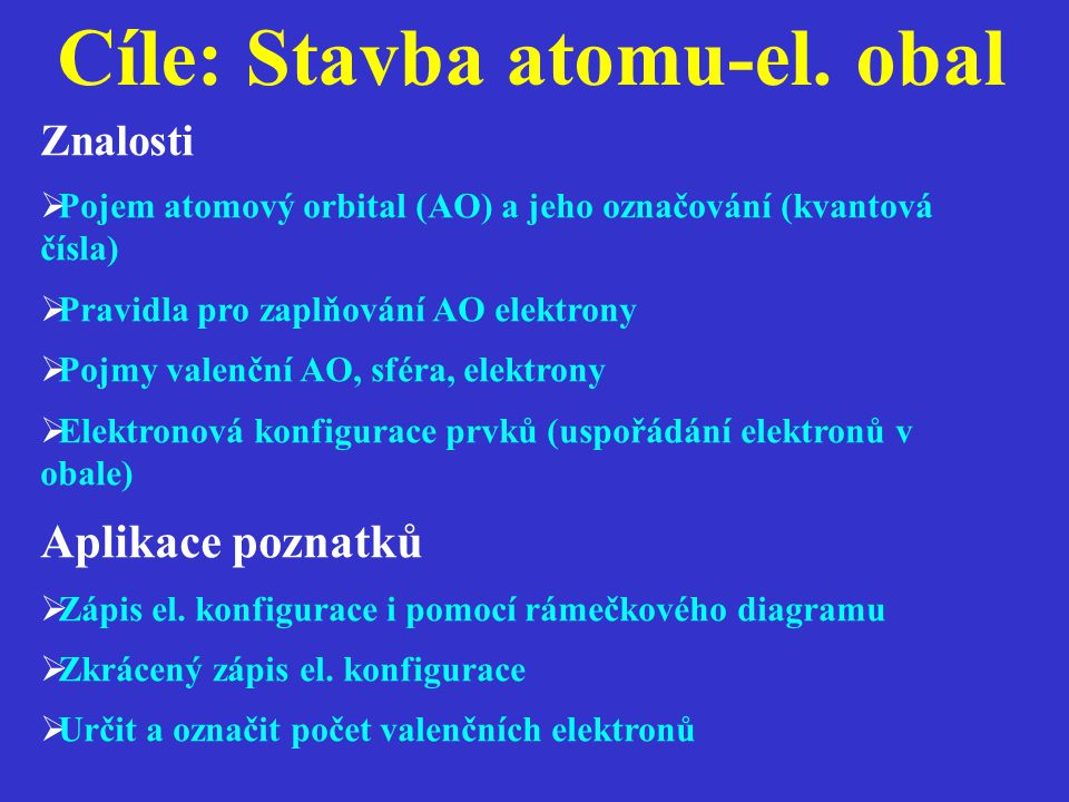 Cíle: Stavba atomu-el. obal