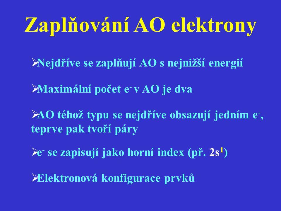 Zaplňování AO elektrony