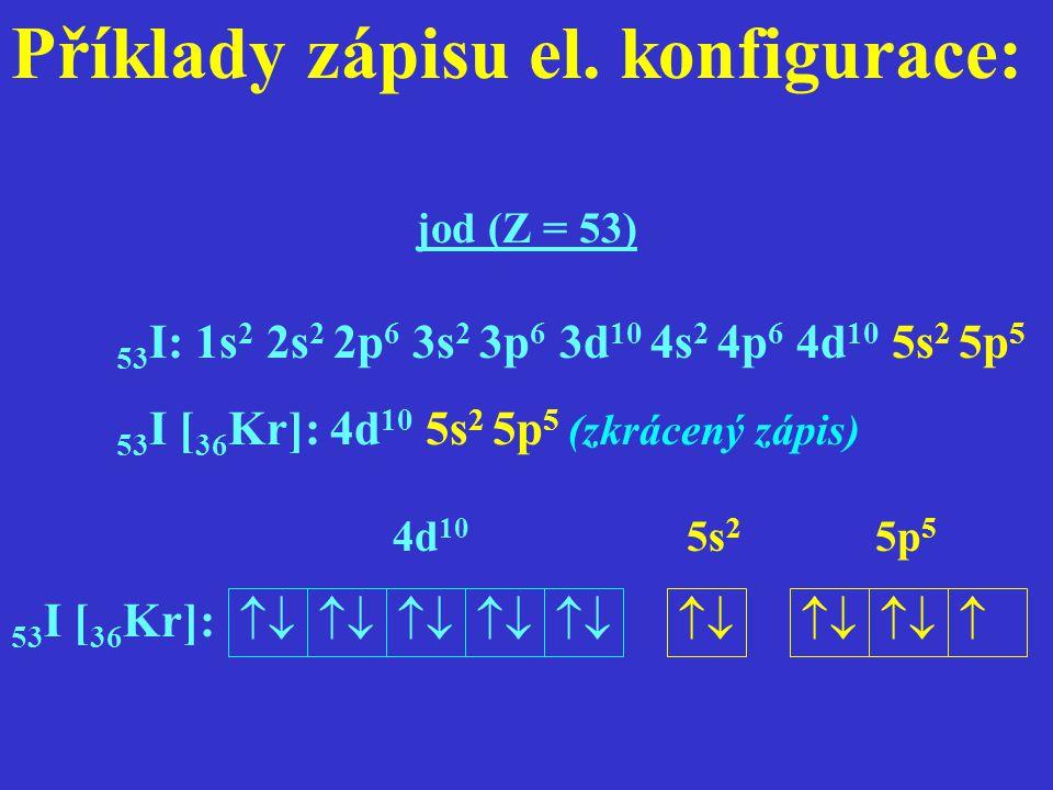 Příklady zápisu el. konfigurace: